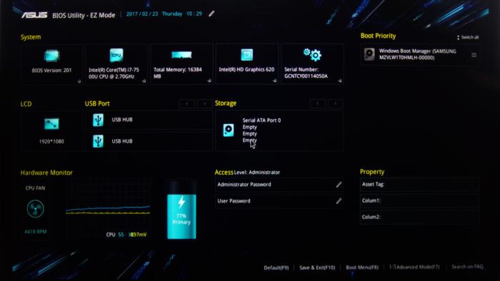 ASUS UEFI - Change boot order