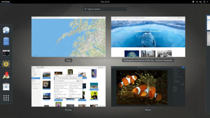 Picture showing the stock GNOME 3 desktop, part of the main Linux desktop environments