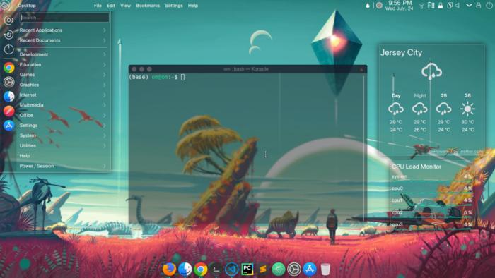 Picture showing a customized KDE Plasma 5 desktop