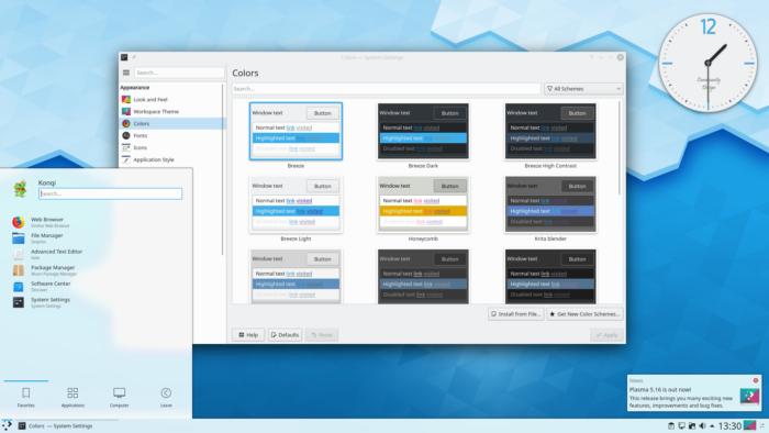 Picture showing the stock KDE Plasma 5 desktop, part of the main Linux desktop environments