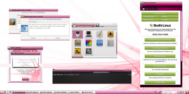 Picture showing the stock Moksha desktop environment