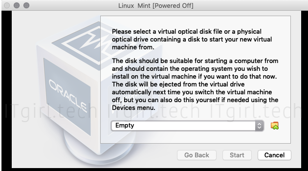 Choosing the appropriate disc image for your newly created Linux VM.