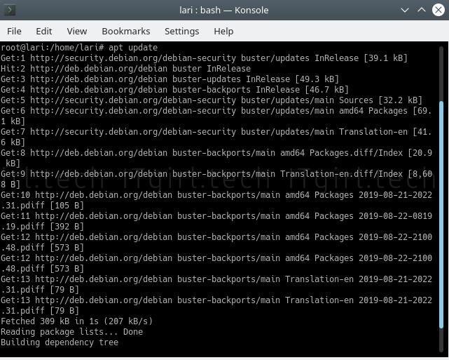 Updating Debian using the Terminal.